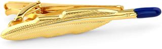 Guldfärgad Fjäderpenna Kort Slipsklämma