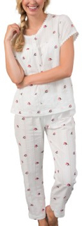 Trofe Vintage Rose Woven Pyjama Vit bomull Small Dam