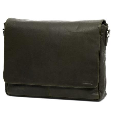 Olivenfarvet Montreal Messengertaske i Læder
