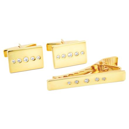 Kort 925s-Sæt i Guld med Zirkoniaprikker