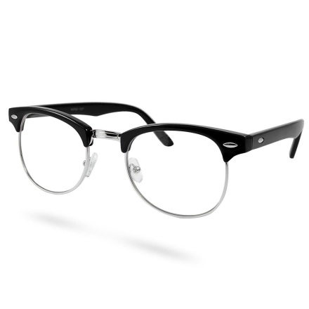 Sorte/Sølv Klare Vintage Briller