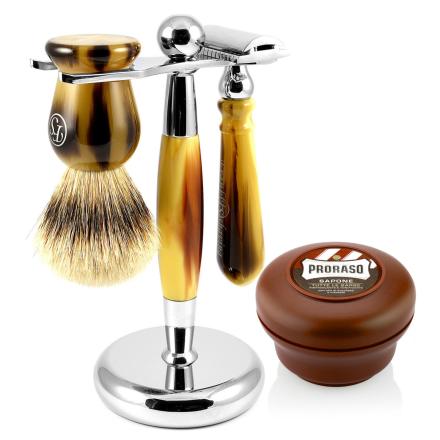 Faux Horn Silvertip Barbersæt - Trendhim