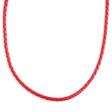 3mm Rød Vævet Læderhalskæde