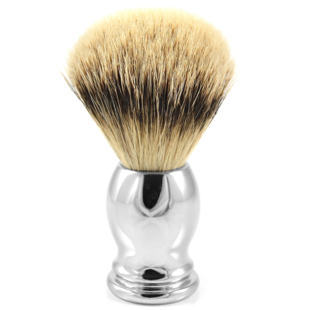 Stål Oval Silvertip Badger Barberkost