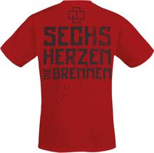 Rammstein - 6 Herzen -T-skjorte - rød