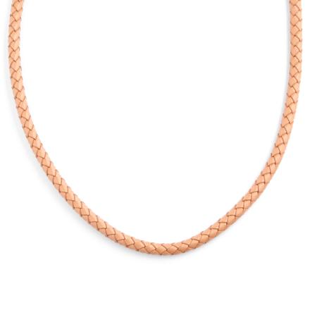 5mm Cremefarvet Vævet Læderhalskæde