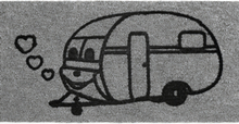 Dørmatte med campingvognmotiv, 40x 60 cm
