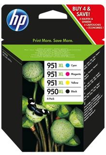 HP 950XL svart bläckpatron/951XL cyan/magenta/gul bläckpatron, original, 4-pack