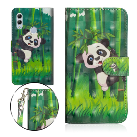 Huawei P Smart 2019 light spot décor leather flip case - Panda Climbing Bamboo