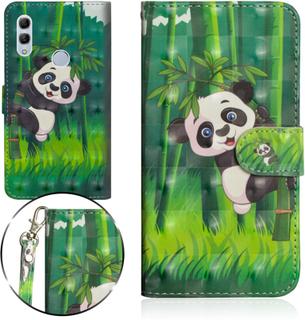 Huawei P Smart 2019 Lommeboketui Med Mønster Og Lysspotter - Panda Med Bambus