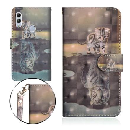 Huawei P Smart 2019 light spot décor leather flip case - Cat