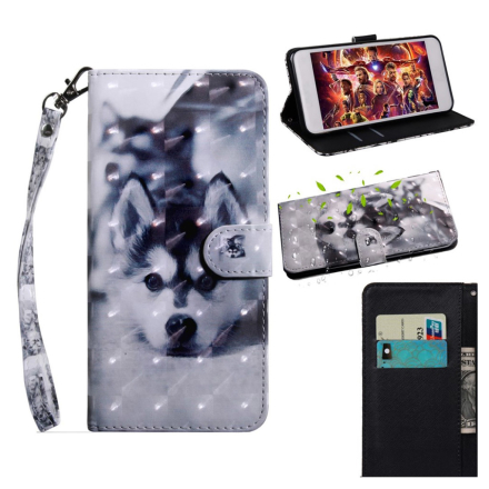 Huawei P Smart 2019 light spot décor leather flip case - Black and White Wolf