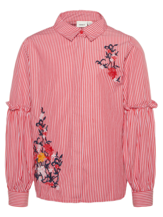 NAME IT Kids Striped Floral Embroidered Shirt Women Pink
