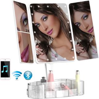 Revolt Sminkspegel LED med förvaring & bluetooth högtalare 1x 2x 3x