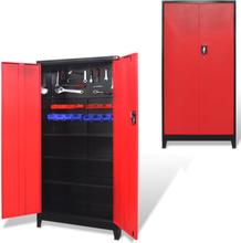 vidaXL værktøjsskab med 2 låger i stål 90 x 40 x 180 cm sort og rød
