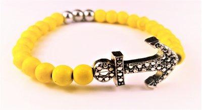Pärlarmband gul med ankare