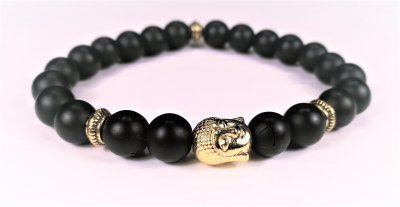 Pärlarmband svart Buddha