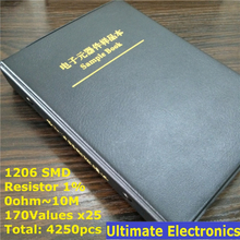 1206 1% SMD Resistor Sample Book 170values*25pcs=4250pcs 0ohm to 10M 1% 1/4W Chip Resistor Assorted Kit
