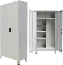 vidaXL Förvaringsskåp med 2 dörrar stål 90x40x180 cm grå