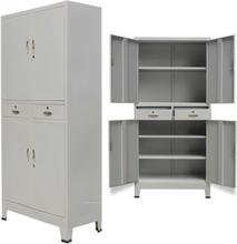 vidaXL Dokumentskåp med 4 dörrar stål 90x40x180 cm grå