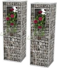 vidaXL Gabionkorg med planteringsmöjlighet 2 st stål 50x50x160 cm