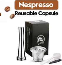 New Crema Stainless Steel Nespresso Coffee Filters Metal Coffee Capsule Pods & Tamper For Espresso Reusable Refillable Baskets