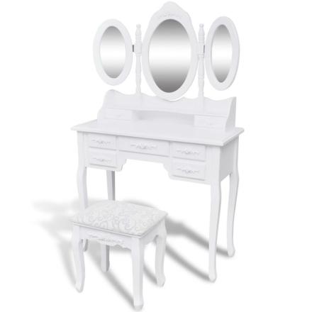 vidaXL Sminkbord med pall och 3 speglar