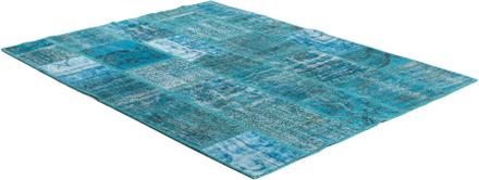 Handknuten Patchworkmatta Turkos - 200x300 cm