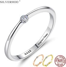 SILVERHOO 925 Sterling Silver Rings for Women Cute Zircon Round Geometric 925 Silver Wedding Ring Fine Jewelry Minimalist Gift