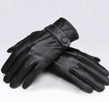 Schwarze windundurchlässige PU-Leder-Herren-Laufräder mit verdeckten Knopfhandschuhen