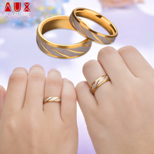 Auxauxme Titanium Steel Engrave name Lovers Couple Rings Gold Wave Pattern Wedding Promise Ring For Women Men Engagement Jewelry