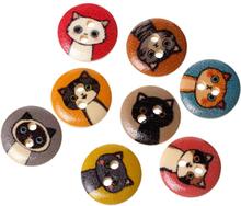 100Pcs 15MM Printed Cute Katze Muster Holzknopf DIY handgefertigtes Zubehör