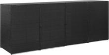 vidaXL Fyrdubbelt skjul för soptunnor svart 305x78x120 cm konstrotting