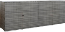 vidaXL Fyrdubbelt skjul för soptunnor antracit 305x78x120cm