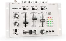 TMX-2211 MKII DJ-mixer 3/2-kanal crossfader talkover cue rack-inbyggnad vit
