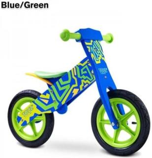 Zap løbecyel i træ - blå/grøn
