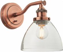Hansen væglampe H22 cm 1 x E14 - Antik kobber/Klar