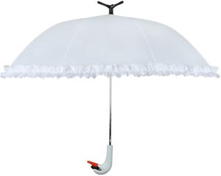Esschert Design Paraply med volanger Swan 99,5 cm hvit TP256
