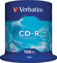 Verbatim CD-R, 52x, 700 MB/80 min, 100-pack spindel, Extra protection (43411)