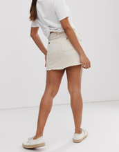 Only Petite denim mini skirt in ecru-Cream