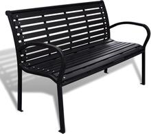 vidaXL Trädgårdsbänk 125 cm stål och WPC svart
