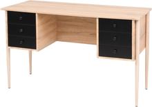 vidaXL Skrivbord med lådor 120x55x76 cm ek och svart