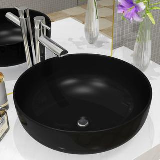 vidaXL håndvask keramik rund sort 41,5 x 13,5 cm
