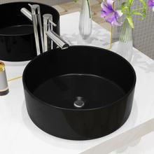 vidaXL Handfat keramik rund svart 40x15 cm