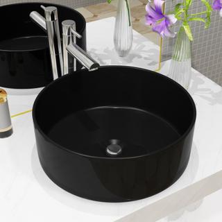 vidaXL håndvask keramik rund sort 40 x 15 cm