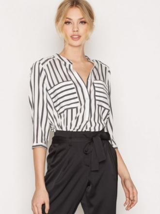 Vero Moda Vmerika Stripe 3/4 Shirt E10 Noos Hvit