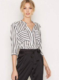 Vero Moda Vmerika Stripe 3/4 Shirt Top E10 No Hvit