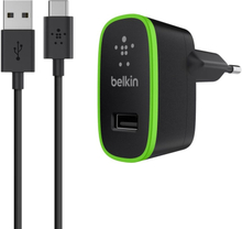 Belkin WALL CHARGER 2.1A WITH USB-C TO USB-A CABLE 1,8M BLACK