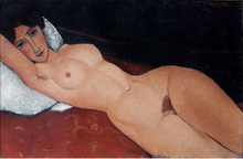 Steve Art Gallery Reclining Nude on a Red Couch,Amedeo Modigliani,60x40cm
