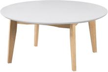 Björk runt vit soffbord med omk 80 cm.